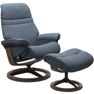 Sunrise (M) Signature Chair w/Footstool - Paloma Sparrow Blue