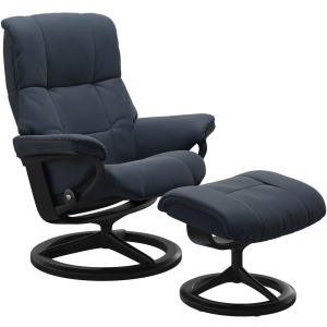 Mayfair Large Signature Chair w/Footstool - Paloma Oxford Blue w/Black