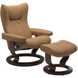 Wing (L) Classic chair with footstool - Paloma Taupe