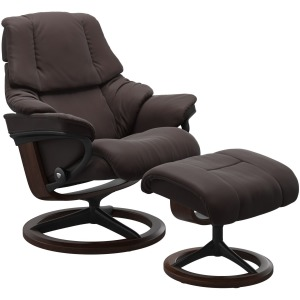 Reno (M) Signature chair with footstool - Paloma Chocolate