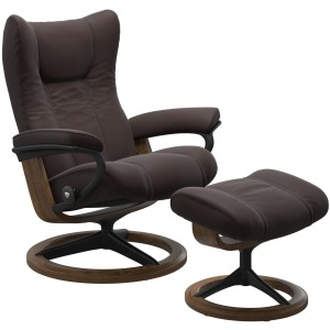 Wing (M) Signature Chair with Footstool - Paloma Chocolate