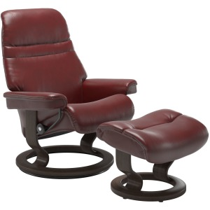 Sunrise (S) Classic chair with footstool - Pioneer Red w/Wenge