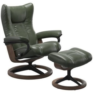 Wing Large Signature Chair w/Footstool - Pioneer Green