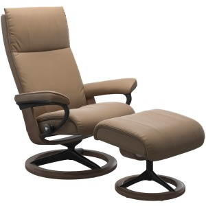 Aura (S) Signature Chair with Footstool - Paloma Almond & Walnut