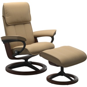Admiral (M) Signature Chair with Footstool - Paloma Sand w/Brown