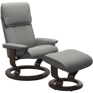 Admiral (L) Classic chair with footstool - Paloma Silver Grey w/Wenge