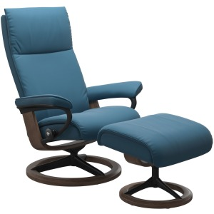 Aura (M) Signature Chair with Footstool - Paloma Crystal Blue & Walnut