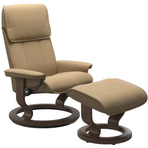 Admiral (M) Classic Chair with Footstool - Paloma Sand & Walnut