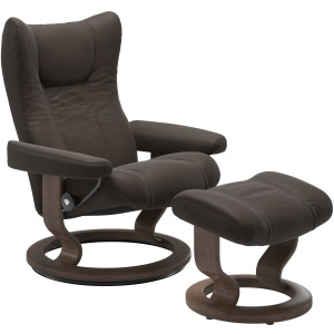Wing (M) Classic chair with footstool - Paloma Chestnut