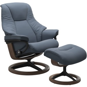 Live Large Signature Chair with Footstool - Sparrow Blue & Walnut