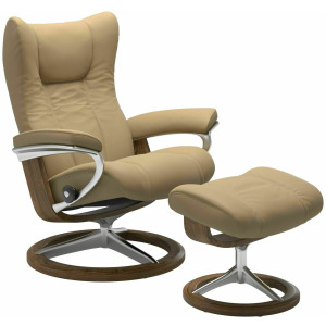 Wing (M) Signature Chair with Footstool - Paloma Sand w/Teak