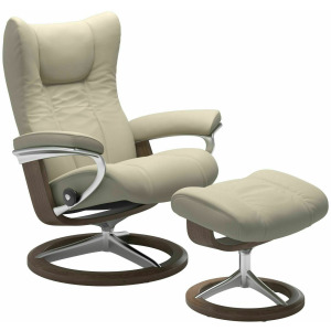 Wing (L) Signature Chair with Footstool - Paloma Light Grey w/Walnut