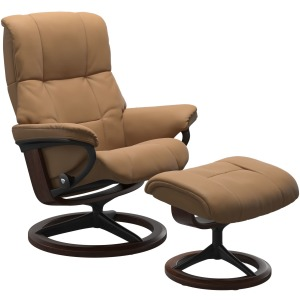 Mayfair (M) Signature chair with footstool - Paloma Taupe & Brown