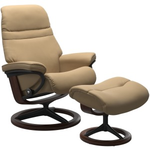 Sunrise Large Signature chair with footstool - Sand & Brown