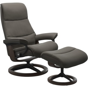 View (M) Signature chair with Footstool - Paloma Metal Grey & Wenge