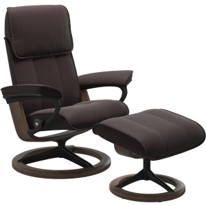 Admiral (M) Signature Chair with Footstool - Paloma Chocolate w/Walnut