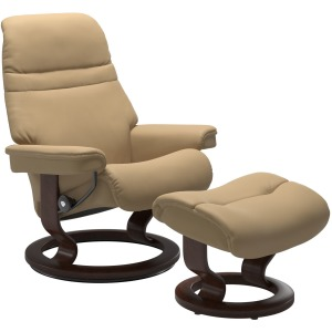 Sunrise (M) Classic Cchair with Footstool - Paloma Sand & Brown