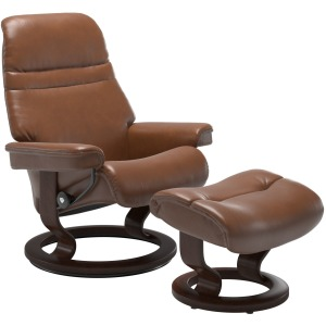 Sunrise (M) Classic Chair with Footstool - Pioneer Olive Brown w/Brown