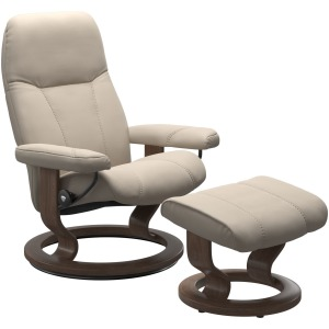Consul (M) Classic Chair with Footstool - Paloma Fog