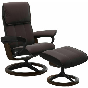 Admiral (L) Signature Chair with Footstool - Paloma Chocolate w/Brown