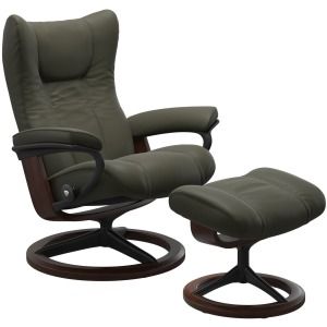Wing Large Signature Chair w/Footstool - Paloma Dark Olive