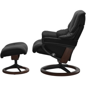 Reno (L) Signature Chair with Footstool - Paloma Black