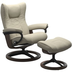 Wing (M) Signature Chair with Footstool - Paloma Light Grey w/Wenge