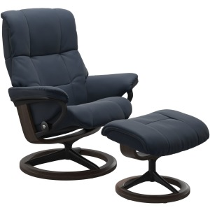 Mayfair Medium Signature Chair w/Footstool - Oxford Blue & Wenge