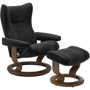Wing (L) Classic chair with footstool - Paloma Black w/Teak
