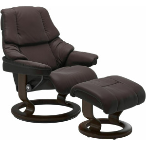 Reno (S) Classic Chair with Footstool - Chocolate w/Brown