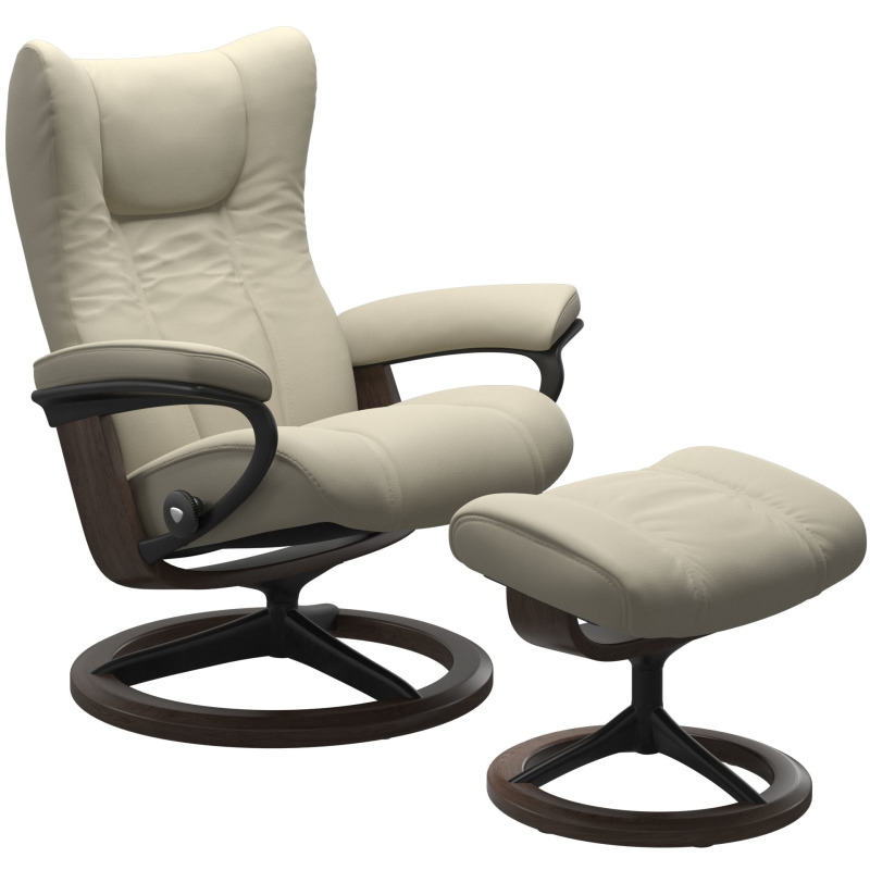 Wing (L) Signature chair with footstool
