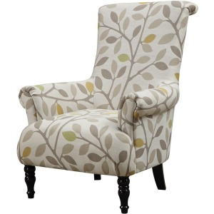 Accent Chair Beige Multi Color Pattern