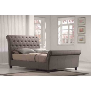 Queen Upholstered Bed Kit Linen Mineral