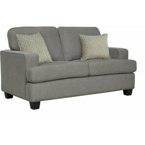 Carter Loveseat w/2 Pillows - Light Grey