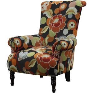 Accent Chair Black Multi Color Pattern