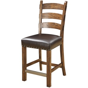 Barstool W/nailhead Rta Black Bonded Leather Uph Seat