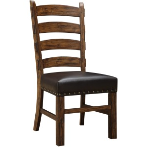 Ladderback Side Chair W/black Bonded Leather & Nailhead Trim Rta