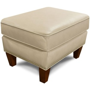 Leather Olive Ottoman with Nails