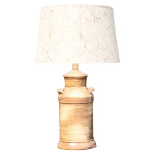 27 inch Ceramic Table Lamp with Weathered Brown Finish.