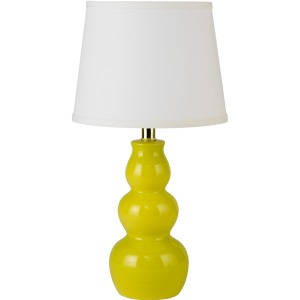 20 inch Ceramic Table Lamp with Lime Finish.