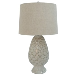 27 inch Blue Ceramic Table Lamp with Ripple Design