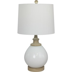 """24.5"""" Transitional Glass Base Table Lamp w/Faux Wood Base and Cap"""