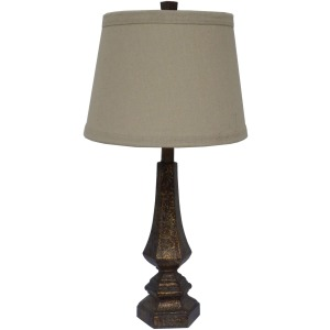 "26"" Resin Table Lamp with Antique Gold Finish."