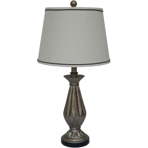"26"" Resin Table Lamp with Antique Silver Finish."