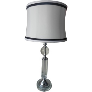 29.25 Inch Chrome Metal & Crystal Table Lamp