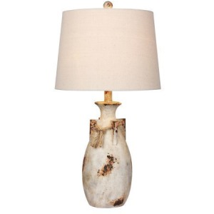 "27.5"" Distressed Jug w/Rope Collar Resin Table Lamp"