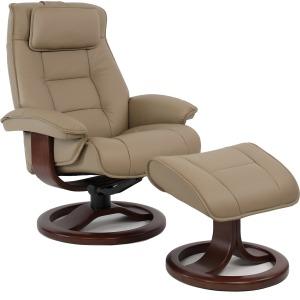 Mustang Large Chair w/Ottoman - Stone w/Walnut Base