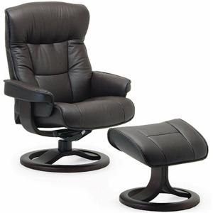 Bergen Large Reclining Chair w/Footstool - Havana