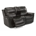 Cade Leather Power Reclining Loveseat w/Console & Power Headrests