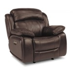 Como Leather Power Glider Recliner W/ Power Headrests